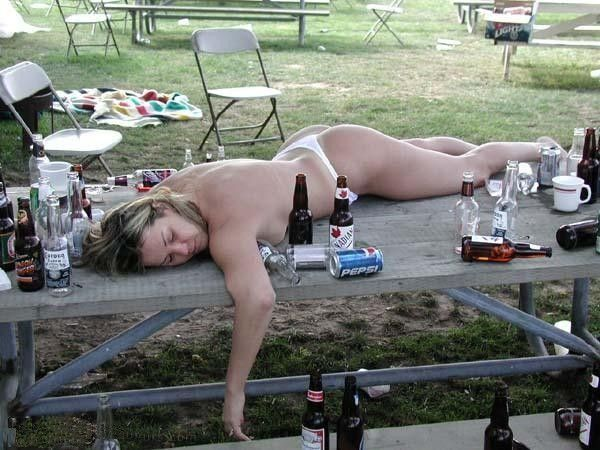 half naked woman on picnic table