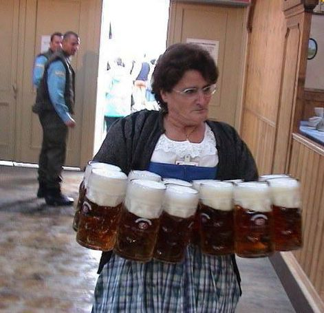 lady with 12 beer steins